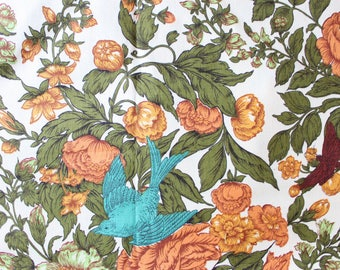 1960's Mayflower Document Floral Fabric by Waverly Bonded Fabrics for Drapes or Upholstery . Olive Peach Blue Bird Material 70s 60s 1970s