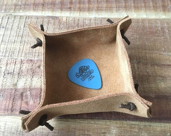 Ring Holder Dish - Natural Suede - Jewelry Storage - Recycled Leather - Gift for men - Gift for women - Desk Accessories -leather Goods