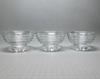 Anchor Hocking Manhattan 3 sherbet bowls , footed with bubble type foot