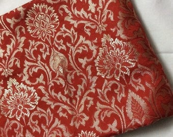 15% off on Half yard of Indian silk brocade in red and gold in an elegant design