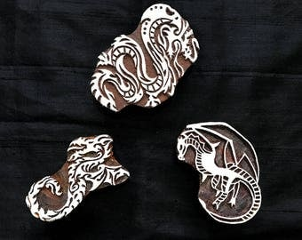 Bargain Set Dragon Theme Indian block printing stamps/wooden block for printing/ paper and fabric printing stamp
