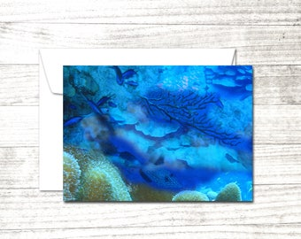 Undersea Greeting Card | Blank Note Card |Underwater Dive Art Card | ocean reef card | Card for Scuba Diver | Underwater Art