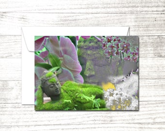 Buddha Greeting Card | Blank Note Card | Yoga Card | Card for Yogi | Blank buddha and lotus card