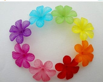 VACATION SALE- 30mm Frosted Lucite Flowers - You choose colors