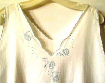 Hand Embroidered, Hand Made Cotton Night Gown