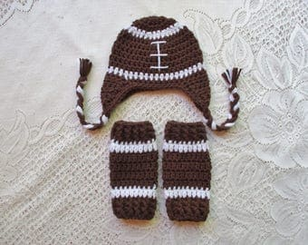 Crochet Football Hat and Leg Warmers - Photo Prop Set - Available in 0 to 24 Months