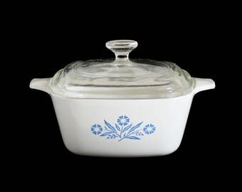 Corningware Petite Pan Glass Lid P-41-6C Mini Casserole Dish Cornflower Blue White P-43-B (2 3/4 cups) 1960s Kitchen