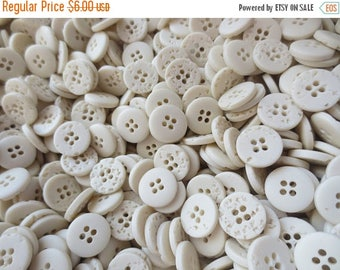 "30% OFF SALE 5/8"" Ivory Buttons 4 Hole Bulk Plastic Lot 16mm Neutral Stone Look 100 gms"