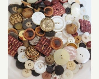 30% OFF SALE Huge Vintage Buttons Lot and Storage Tins (320 Pieces Plus 4 Tins)