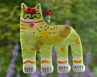 Green Fused cat glass ornament