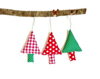 Christmas ornaments, christmas baubles, gingham tree ornaments