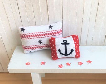 Miniature Pillows With a Nautical Theme - One With Stars and Stripes and One With an Anchor - Perfect for Your Summer or 4th of July Decor
