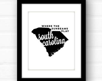 South Carolina home decor | South Carolina art | Columbia SC | Charleston SC print | Charleston art | palmetto state | state wall art