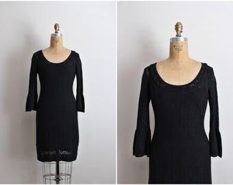 90s Betsey Johnson Black Crochet  Dress / 1990s Party Dress / Cocktail Dress / Little Black dress / Black Lace Dress / LBD/ Size S/M