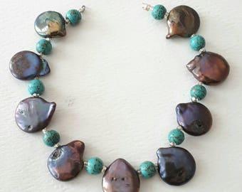 "6.5"" length-Genuine tear drop Pearls, green Turquoise beads"