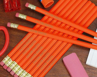 Orange Engraved School Pencils, back to school, school supplies, writing utensils, pencils, engraved, orange, #2 -gfyL451913OR