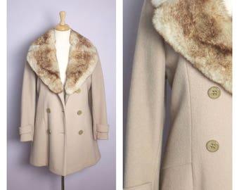 Vintage 1970's Beige Wool Fox Fur Trim Coat M/L
