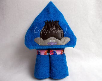"""Branch inspired Dark Troll Hooded Bath Towel! 10"""" Hood. READY TO SHIP. Can be personalized.  Perfect gift for Child or Adult. Troll Movie"""