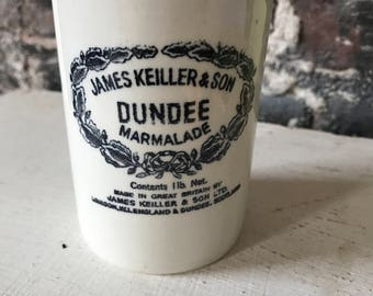 Vintage Farmhouse Dundee Marmalade Stoneware Jam Jar white