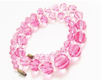 ON SALE Vintage Pink Crystal Bead Necklace 1960s Mid Century Jewelry