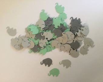 Elephant Baby Shower, Elephant Confetti, Mint Green Gray Dark Gray, Sip and See, Elephant Cut Out, Elephant Theme, Elephant Party