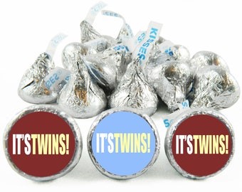 Set of 108 - It's Twins Boy Stickers for Hershey's Kisses. Twin Baby Shower Kisses - Twin Baby Shower Favors - #IDTBS501
