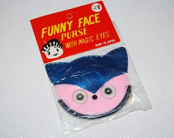 Vintage 1960's Funny Face Kitty Cat Purse - Winking Blinking Magic Eyes - New in Package - Children's Novelty Coin Purse
