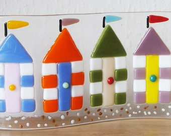 Fused Glass Double Curved Panel with Beach Hut Design - 24cm x 10cm