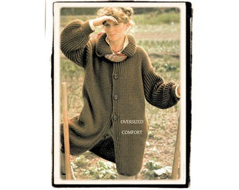 Instant Download PDF CROCHET PATTERN to make a Chunky Long Womens Cardigan Knee Length Oversize Baggy Coat to fit a 32 to 36 inch Bust