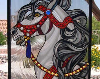 Stained Glass Whirligirl Horse with Jewels 819