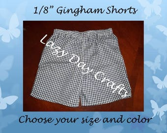 Gingham Check Shorts - Toddler Boys or Girls - Many Colors Available - Size 12 months to 5