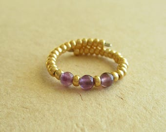 Amethyst gemstone memory wire beaded ring