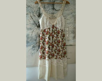 Summer strap dress, flower dress, romantic summer dress, boho dress, gypsy dress, upcycled clothing, women's dress size S,artsy unique dress
