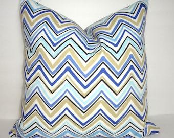 OUTDOOR Blue Black Beige Tan Chevron Zigzag Pillow Cover Patio Decor Size 18x18