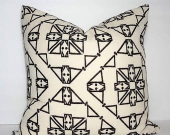 FALL is COMING SALE Ivory and Dark Brown Textured Embroidered African Boho Aztec Geometric Printed Pillow Cover Throw Pillow Cover by HomeLi