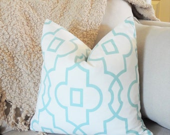 Canal Blue Seafoam Trellis Geometric Sheffield Aqua Pillow Cover Home Decor by HomeLiving Throw Pillow Cover Choose Size