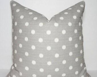 SPRING FORWARD SALE Ikat Dots Nova Gray Birch Pillow Cover Decorative Pillow Cover  Grey Ivory Polka Dot Pillow Cover 18x18