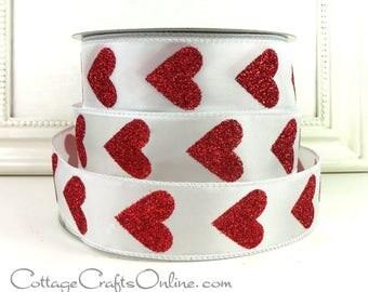 "Valentine Wired Ribbon, 1 1/2"" wide, Red Glitter Heart - THREE YARDS - ""Big Heart"" #707291 Craft Decor Wire Edge Ribbon"