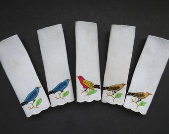 Vintage Cocktail Napkins - Set of 5 - Hand Embroidered and Appliqued Birds - Bird Watchers - Vintage Linens - Entertaining - Gift