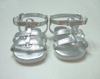 """18 Inch Doll White, Silver, Gold, or Pink Strappy Sandals, 18"""" Doll Shoes, AG Doll Shoes, Girl Doll Shoes"""