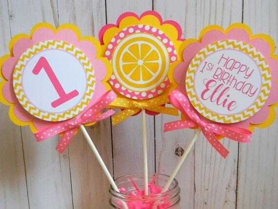 Pink lemonade centerpieces centerpiece sticks