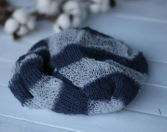 Knitted Striped Wrap, Dark Gray and Light Gray knitted wrap, New Born Knit Wrap