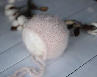 new born Blush Bonnet, Knitted bonnet,organic bonnet,mohair, Blush Pink Bonnet