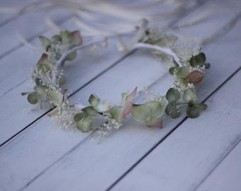 sage and blush floral crown, silk hydrangea and baby breath wreath
