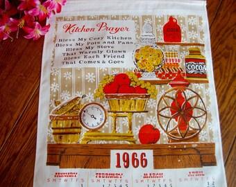 1966 Calendar Towel Vintage Linen Kitchen Towel Kitchen Prayer