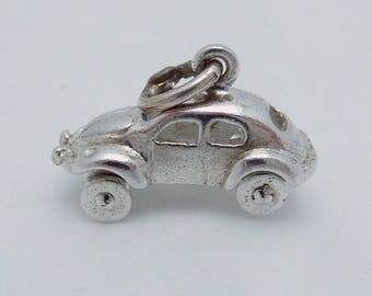 Vintage Sterling Silver Moveable VW Volkswagen Bug Car Charm Pendant 23258