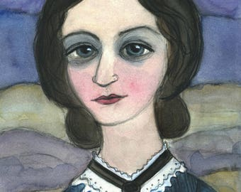 Charlotte Bronte Art Print, Writers Portrait, Literary Art Print, Jane Eyre Art, (11x14) Literary Illustration, Classic Literature Art