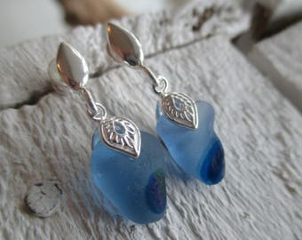 Blue Sea Glass Sterling Silver Earrings