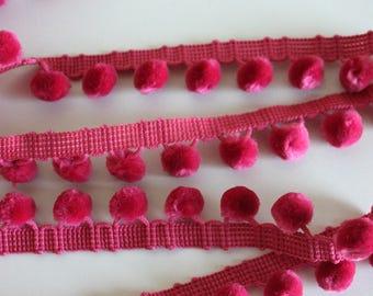 Heavy Pom Pom Fringe - Hot Pink - Simplicity Brand - 2.75 yards