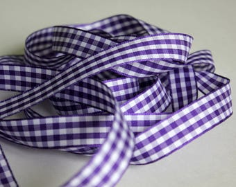 """3/8"""" Gingham Ribbon - Purple and White - Spool 25 yards"""